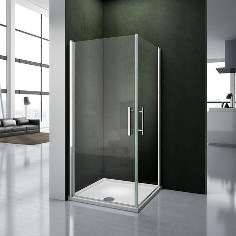 Box cabina doccia 90x80x195cm Scorrevole Angolare Cristallo Temperato Trasparente 6mm