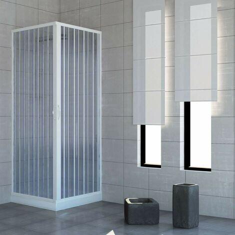 Box doccia angolare PVC a soffietto apertura centrale h185 mod. Acquario quadrato semicircolare opaco riducibile