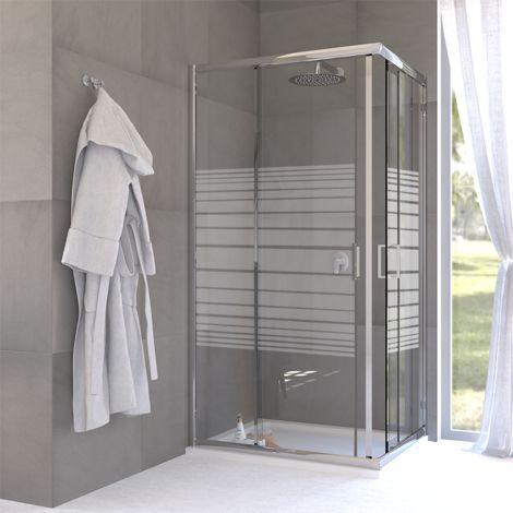 Box doccia angolare due porte scorrevoli cristallo 6 mm serigrafato 70x70 cm