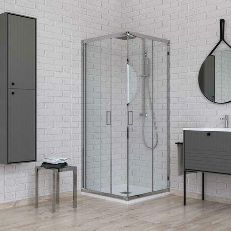 Box doccia angolare due porte scorrevoli cristallo 6 mm trasparente 70x70 cm