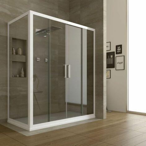 Box doccia bianco H190 trasparente/opaco 6mm profilo PVC 2 porte scorrevoli in vetro cristallo cincillà stampato apertura centrale cabina mod. Star