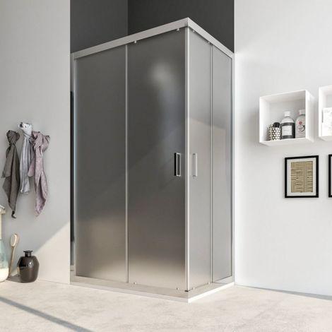 Box doccia cabina angolare scorrevole cristallo OPACO SATINATO anticalcare 6mm Acacia