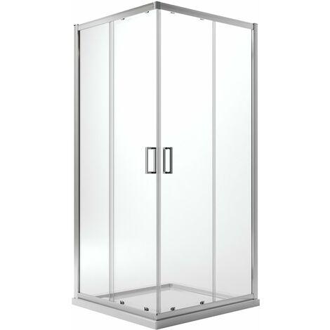 Box doccia h185/198 vetro trasparente/stampato 6mm semicircolare apertura scorrevole due ante scorrevoli cabina cristallo reversibile 6mm mod. Ready