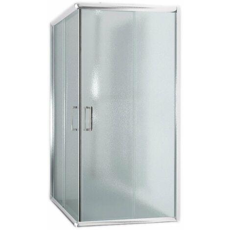 Box doccia H185/200 vetro trasparente/stampato 6mm rettangolare quadrato apertura scorrevole due porte scorrevoli reversibile cabina cristallo mod. Alabama