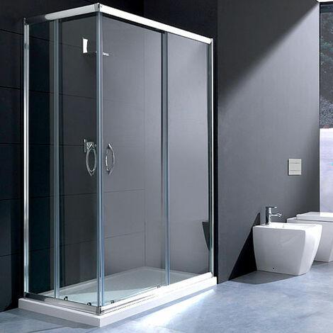 Box doccia rettangolare 70x120 in cristallo da 6 mm trasparente apertura angolare