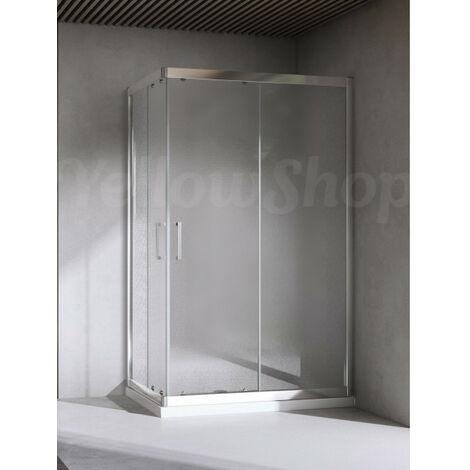 Box Doccia 70x90 Cristallo 6 Mm.Box Doccia Rettangolare Cristallo 6mm Puntinato Opaco