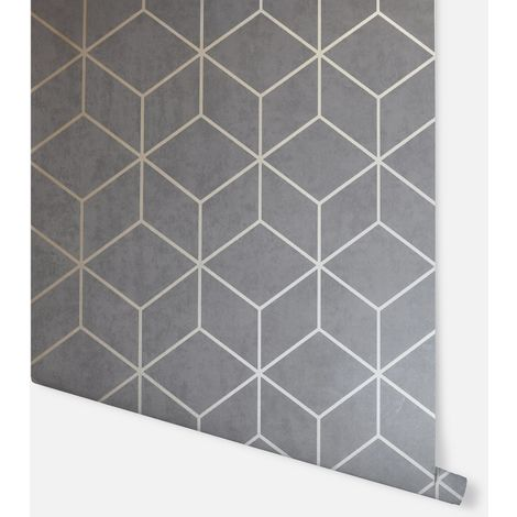 Box Geo Charcoal & Copper Wallpaper - Arthouse - 689002