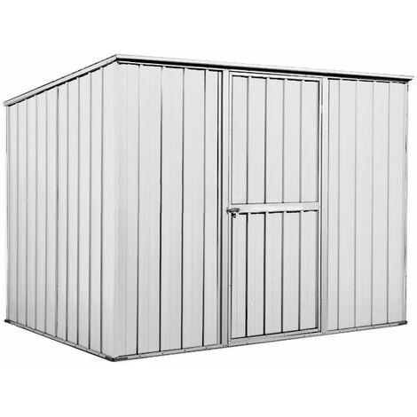 Box in Acciaio Zincato casetta attrezzi da giardino 260x185cm x h1.92 m - 85kg - 4,55mq - BIANCO