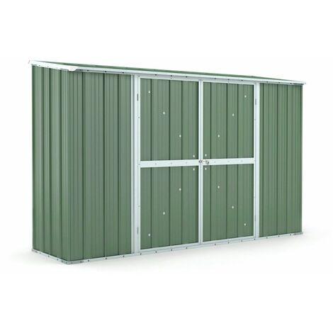 Box in Acciaio Zincato casetta attrezzi giardino 307x100cm x h1.92m - 75KG - 3.07mq – VERDE