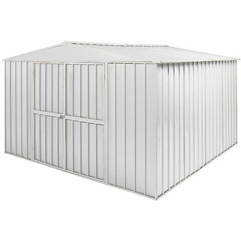 Box in Acciaio Zincato garage attrezzi lamiera 360x3.45cm x h2.12m - 150KG - 12,25mq - BIANCO