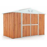 Box in lamiera casetta attrezzi giardino Acciaio Zincato 327x155cm x h2.17m - 114KG – 5.06mq – LEGNO