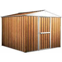 Box lamiera giardino casetta attrezzi in Acciaio Zincato 276x260cm x h2.12m - 110KG - 6,76mq - LEGNO