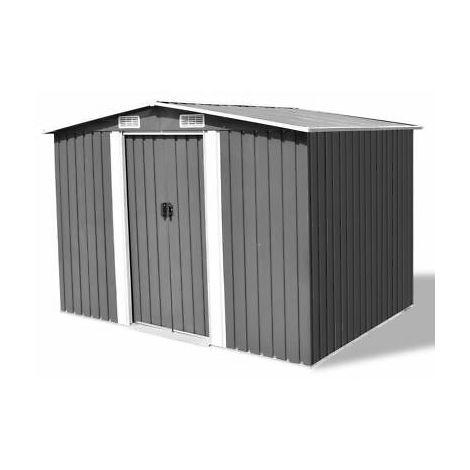 Box magazzino capanno per attrezzi in metallo grigio 257x205x178 cm