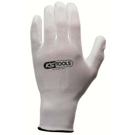 Box mit 12 Paar KS TOOLS Handschuhen - Mikrofasern - Weiß - Größe L - 310.0450
