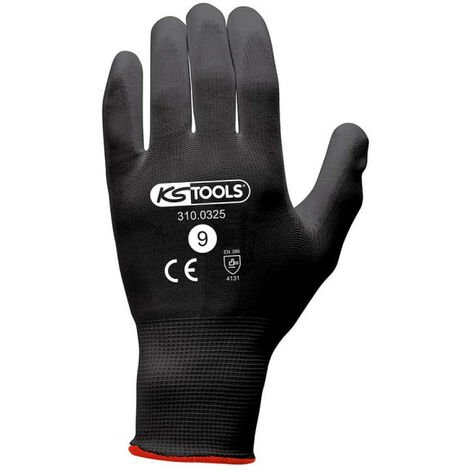 Box of 12 pairs of KS TOOLS gloves - Microfibres - Black - Size L - 310.0325