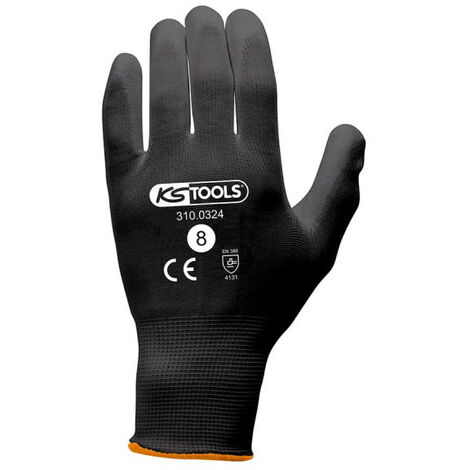 Box of 12 pairs of KS TOOLS gloves - Microfibres - Black - Size M - 310.0324