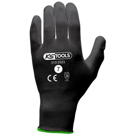 Box of 12 pairs of KS TOOLS gloves - Microfibres - Black - Size S - 310.0323