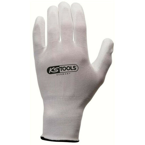 Box of 12 pairs of KS TOOLS gloves - Microfibres - White - Size L - 310.0450