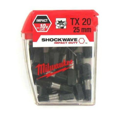 Box of 25 caps MILWAUKEE Torx TX20 25mm SHOCKWAVE 4932352555