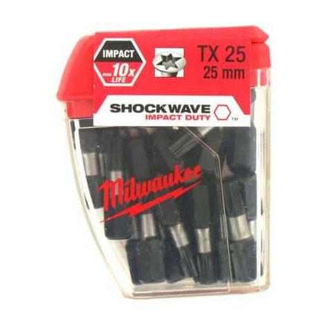 Box of 25 caps MILWAUKEE Torx TX25 25mm SHOCKWAVE 4932352556
