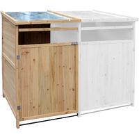 Box portabidoni Copribidone spazzatura 240L copertura in legno pattumiera giardino LATERALE SINISTRO