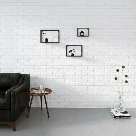 Box Regal Set 3 - Regal, Buecherregal - nach Wand - Schwarz aus Metall, 40 x 13 x 25 cm, -
