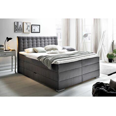 Boxspringbett 180x200cm LORETOPLUS-114 in 4 Farben und 3 Härtegraden wählbar, inkl. seitlich klappbarer Bettkasten