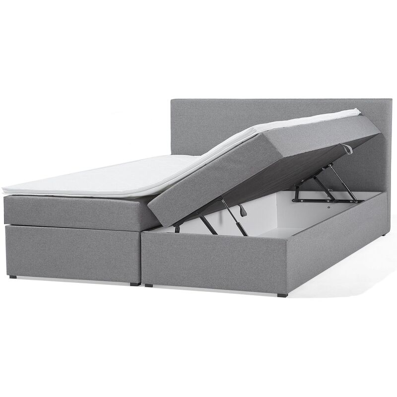 Boxspringbett Grau mit Bettkasten Stoff 180 x 200 cm Hochklappbar Bequem - BELIANI