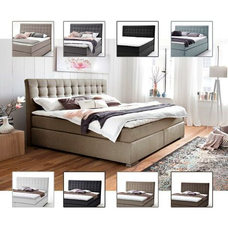Boxspringbett LORETO-114 in 8 Farben, Kunstleder oder Stoff, 3 Größen und 3 Härtegraden wählbar