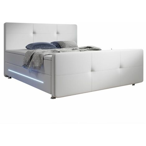 Boxspringbett Oakland 180x200 cm mit 2 Federkern-Matratzen, Topper, LED-Beleuchtung – 58 cm Komforthöhe – Bett aus Kunstleder & Holz – weiß   Artlife