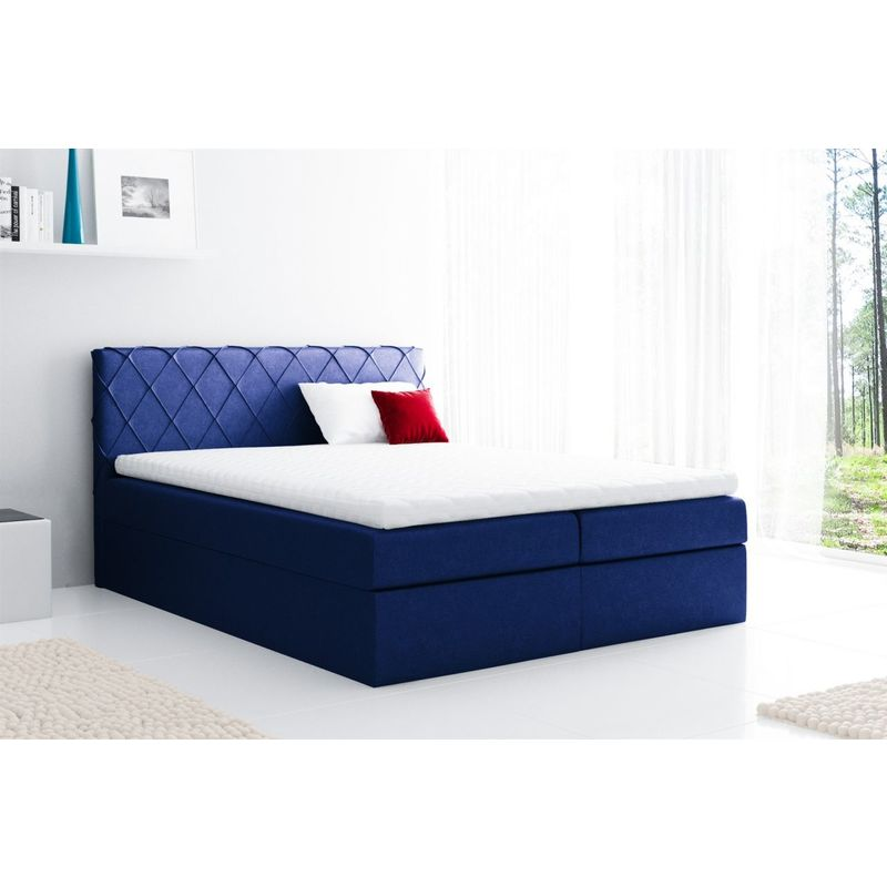 Boxspringbett Schlafzimmerbett GRETA 160x200cm Stoff Blau - FUN MOEBEL