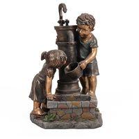 Boy & Girl Hand Pump Garden Fountain Water Feature