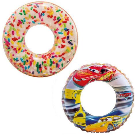 Boya hinchable de dona hinchable con copos de azúcar de 114 cm de diámetro - Boya hinchable de coche hinchable de 51 c