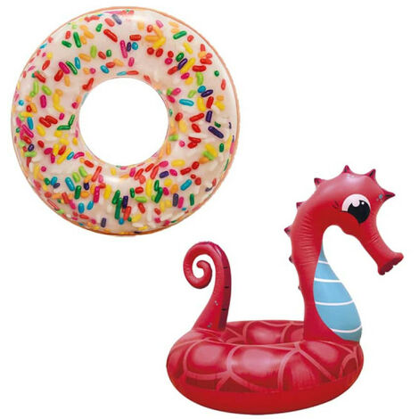 Boya hinchable Pack Donut inflable con copos de azúcar de 114 cm de diámetro - Boya hinchable Seahorse inflable 91 cm