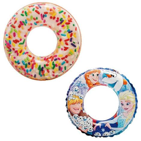 Boya inflable de donuts con copos de azúcar de 114 cm de diámetro - Boya inflable Snow Princess de 51 cm de diámetro