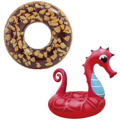 Boya inflable de donuts de chocolate de 114 cm de diámetro - Boya inflable de caballitos de mar de 91 cm