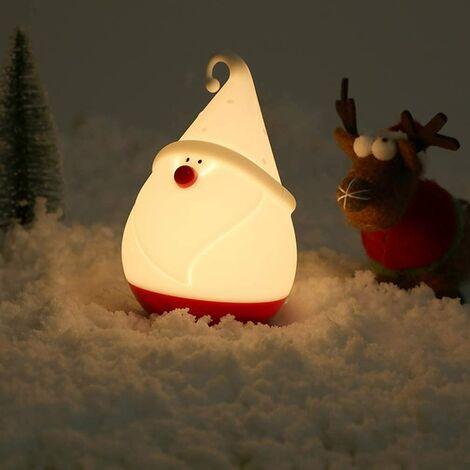 Boyan Veilleuse pour enfants cadeau de Noël père noël blanc chaud bonhomme de neige en silicone veilleuse lampe USB rechargeable portable lampe pour chambre sommeil cadeaux d'anniversaire