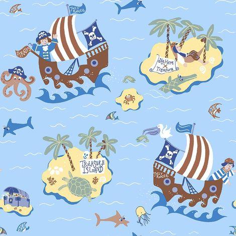 Boys Blue Pirates Wallpaper Skulls Treasure Island Maps Paste Wall Galerie