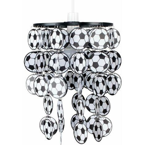 Boys Football Bedroom Ceiling Pendant Light Shade - Black & White