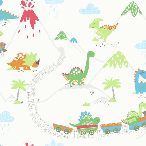 Boys Girls Dinosaur Train Wallpaper Volcanoes Green Blue Red Orange Colourful