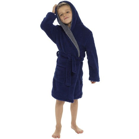 Boys Hooded Shaggy Fleece Dressing Gown Bathrobe