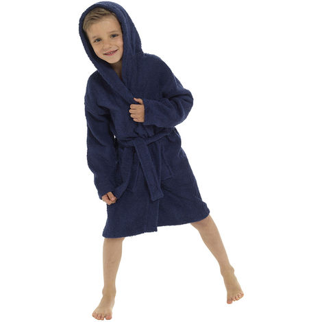 Boys Hooded Soft 100% Cotton Dressing Gown Bathrobe