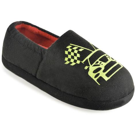 Boys SlumberzzZ Glow-In-The-Dark Printed Fleece Slipper With Elasticated Heel