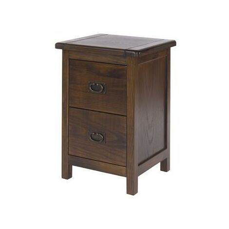 Bozz 2 Drawers Petite Bedside Cabinet Antique Wood Bedroom Chest Dark Brown