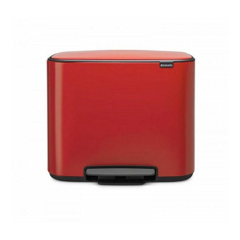 poubelle à pédale 2 seaux 11+23l rouge passion - 121166 - Brabantia