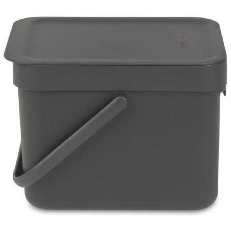 BRABANTIA Poubelle encastrable Waste Bin Sort & Go 6 L gris