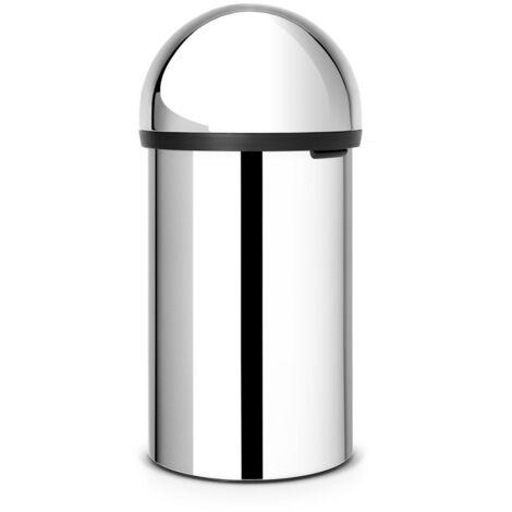 Brabantia Push Bin, Mülleimer, Abfalleimer, Papierkorb, Brilliant Steel, 60 L, 402623