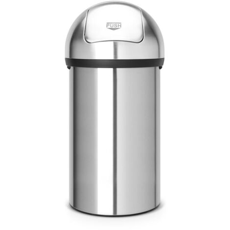 Brabantia Push Bin, Mülleimer, Abfalleimer, Papierkorb, Matt Steel, 60 L, 484520