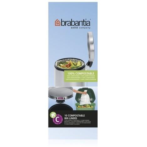 Brabantia Sac Poubelle 10-12 litres (code C, 100% compostables) 1 rouleau de 10 sacs - Green