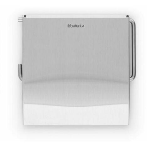 Brabantia Toilettenpapierhalter, Klopapierhalter aus Metall mit Klappe, Matt Edelstahl, 385322